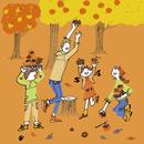 柿と栗拾いを楽しむ家族と紅葉