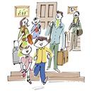 旅行に行く三世代家族