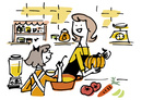 キッチンでカボチャを料理する母娘