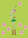 花を持つ女性 春のイメージ