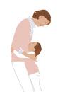 抱きしめる母娘