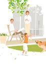 緑の芝の庭で犬と遊ぶ女の子を見守る父と母