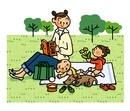 ピクニックを楽しむ親子とイヌ