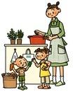 野菜を選ぶ子供と料理をする母親