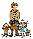 落ち葉や木の実を拾う子供たちとお母さん