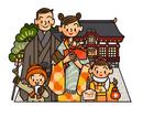 初詣に行く家族 お正月イメージ