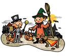 ハロウィンにたくさんのお菓子をもらって帰る仮装した子供たち