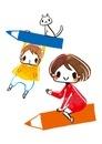 空飛ぶエンピツと女の子と男の子と猫 02566000001| 写真素材・ストックフォト・画像・イラスト素材|アマナイメージズ