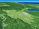 会津若松と猪苗代湖とその周辺地形を磐梯山へ向けて望む