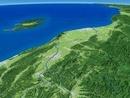 信濃川上空から日本海側へ越後平野を望む