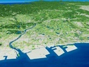 播磨港上空から加古川を中心とした播磨平野を望む