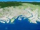 東京湾上空から東京都を中心とした関東平野を望む