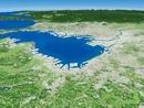 千葉県上空から東京湾に向けて関東山地を含めた平野を望む