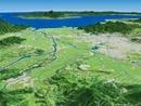 阿蘇山上空から島原半島へ向けて熊本平野を眼下に望む