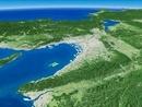 和歌山県上空から若狭湾へ向けて広域に大阪平野を望む