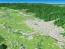 山形市上空から山形市と山形盆地を眼下に望む