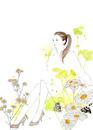 女の子とパンプスと白い花