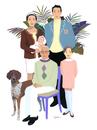 5人家族と犬