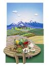 野菜カゴやティーセットのある高原のカフェテーブル