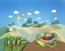 収穫した野菜がテーブルにある高原の風景クラフト