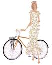 自転車に手をかける花柄のワンピースを着た女性