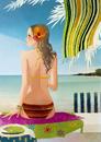 海辺に座る後ろ姿の水着の女性