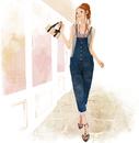 ショーウインドウの前を歩く女性