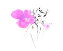 墨タッチ女性肩にピンクの花