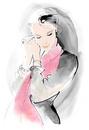 墨タッチ女性赤いスカーフ