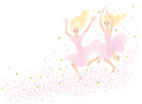 花びらの中ジャンプしている女性