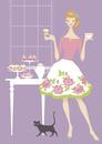 黒猫とバラ柄スカートの女性 ティータイム