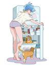 冷蔵庫の扉をあける女性