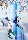 桜咲く滝に鶴