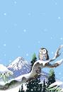 雪のふくろうと富士