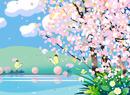 桜満開の湖