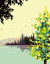 色づく秋の湖畔