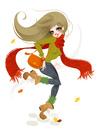 秋の服装で歩く女性