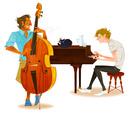 ウッドベースを演奏する男性とピアノを演奏する男性