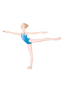 バレエのアラベスクのレッスンをする少女