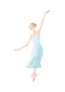 水色の衣装でバレエを踊る女性