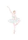 バレエ 白いチュチュを着て踊る女性