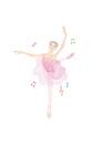 ピンクのレオタードを着て、音楽に合わせてバレエのレッスンをする女性