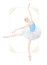 水色のレオタードを着てバレエのアラベスクをする女性
