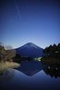 田貫湖に映る逆さ富士と流星とラブジョイ彗星