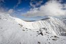 冬の南アルプス烏帽子岳より望む富士山