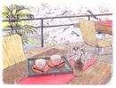 桜の見える和風カフェテラス 水彩イラスト