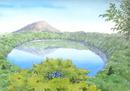 鏡のような湖面が美しい霧島の大浪池 水彩イラスト