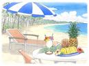 真夏のビーチ パラソルと南国フルーツ 水彩イラスト