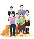 老夫婦と親子の三世代ファミリーと犬
