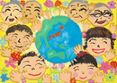 にこにこ笑顔の家族と輝く青い地球